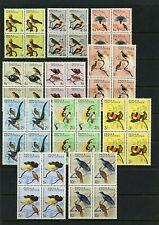 Papua New Guinea #188-198 (PA669) Comp 1964-5 Birds, Blocks of 4, MNH, VF