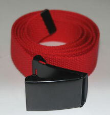 """NEW FLIP TOP ADJUSTABLE 50"""" INCH RED MILITARY WEB CANVAS BLACK BELT BUCKLE"""
