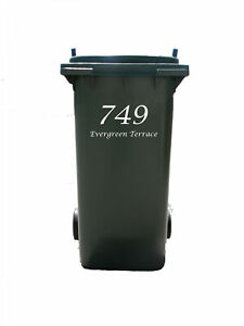 Personalised Bin Sticker with House Number and Street Name for Wheelie Rubbish