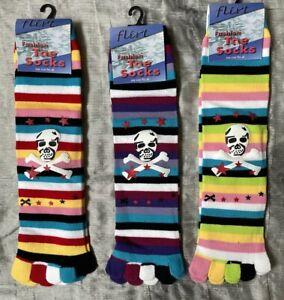 3 Pairs Toe Socks Stripey Striped Pirate Motif Rainbow Fun And Warm Emo Punk