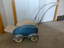 vintage toy baby buggy from the 30-40--50's, chrome wheels
