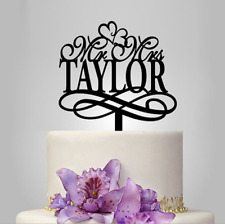 Acrylic Personalized Mr & Mrs Heart Wedding Cake Toppers Decoration Sweet Gift