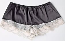 Quality Black Satin  Cream Lace French Cami Knickers Panties Burlesque  12 -14