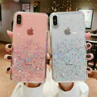 For iPhone 6 7 8 X XS SE 10 XR 11 Pro Max Glitter Clear Case Cover