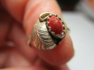 STERLING SILVER 975 ESTATE PETITE SOUTHWEST READ CORAL CHILD'S RING SIZE 2