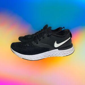 Nike Odyssey React Flyknit 2 AH1016-010 Women's US 6.5 Black White Running Shoe