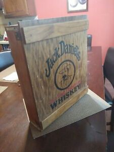 """VTG Jack Daniel's Old Tennessee Whiskey Wood Shot Glass Wall Cabinet 16""""x19""""x5"""""""