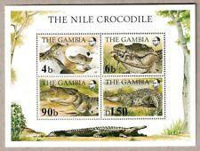 1984 GAMBIA AFRICA NILE CROCODILE 4 STAMP BLOCK SOUVENIR STAMP SHEET MNH