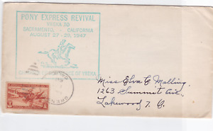 united states  1947 pony express revival stamps cover  ref r15855