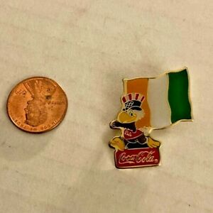 1984 Los Angeles Olympics Coca-Cola Sam the Eagle Ivory Coast Flag Pin Rare