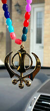 Gold Plated Punjabi Sikh Large Khanda Pendant Car Hanging in Coloured Beads