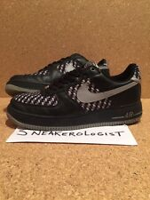 NIKE AIR FORCE 1 PREMIUM SZ 9 drum island black grey woven low 2005 le prm