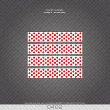 0482 Polka Dot Stripes Bands - Bicycle Decals Stickers - White & Red