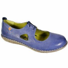JUNGLA WOMEN'S MARY JANES BALLERINA SHOES LEATHER FLATS BLUE LACE UP