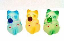 A Set of Three of Maneki Neko Fengshui Lucky Cats in blue, yellow, green Colors