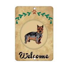 Welcome Australian Silky Terrier Dog Metal Sign - 8 In x 12 In