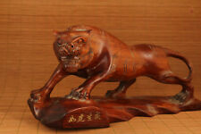 Big Rare Old Wood Hand carving Fierce tigher Statue feng shui Home decoration