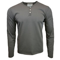 Mens Henley Long Sleeve Shirt Slim Fit Button Pullover CHARCOAL NEW