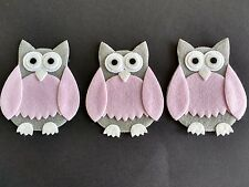 3 Felt Owls, Die Cut Craft Embellishments. Great for all sorts of crafts.