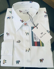 BNWT Paul Smith PS Tailored Fit Ram Print White Shirt Size S