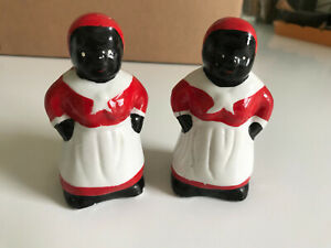 Vintage Black Americana Collectible Ceramic Salt Pepper Set