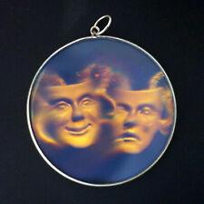 "9ct Yellow Gold 38mm Retro ""Theatre Masks"" Hologram Pendant"