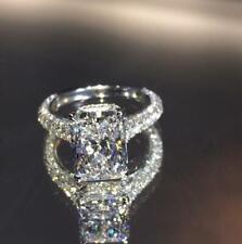 9x7 mm Radiant Cut Brilliant Moissanite Engagement Ring in 14k White Gold Finish