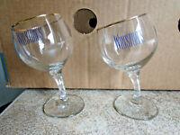 "RARE ""Winston's Club"" Drunken Wine Glasses x 2- Gilt Rims -Winston Cigarettes"