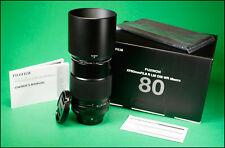 FujiFilm XF 80mm F/2.8 LM OIS WR Macro Lens, Both Caps, Hood & Box