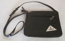 Stunning Cellini Genuine Black Leather with Cow Hide Crossbody Purse: New w/Tags