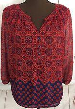 Liz Claiborne Petite Red Blue Semi Sheer Women's Size Large Blouse Blouson