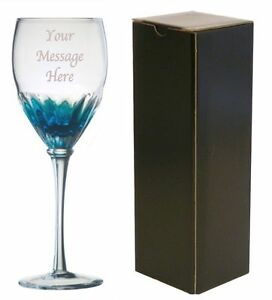 Personalised Engraved Blue Wine Glass - Retirement Leaving