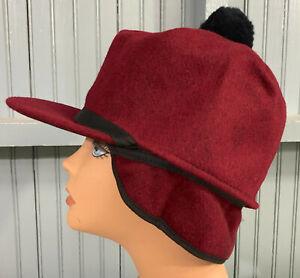 Maroon Pom Wool Hunting Made USA Ear Flaps 7 7/8 Langenberg Scotch Hat Cap