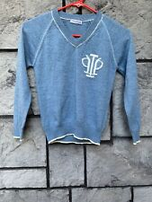 I Pinco Pallino Girls Pullover V Neck Sweater Sz 8 Blue 100% Wool Made In Italy