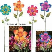 GLASS FLOWER Garden Stakes BLUE ORANGE PINK PURPLE Creekwood Regal Art & Gift