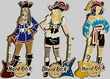 Hard Rock Cafe ONLINE 2013 Sexy PIRATE Girl with Guitar Series 3 PINS LE150 New!