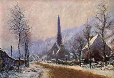 Nice Oil painting Claude Monet - Church at Jeufosse, Snowy Weather landscape