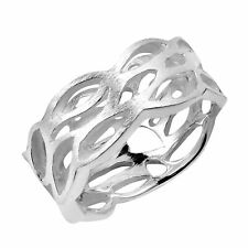 Trendy Cut-Out Satin Brush Waves Sterling Silver Ring-9