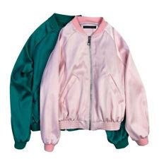 Womens Girls Satin Silk Blend Embroidery Casual Baseball Jacket Fashion Outwear