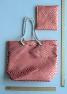 Olivia Miller CORAL Pink GOLD Tote Purse Hand Bag + Make up Pouch - FLASH SALE
