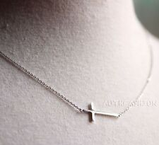 Sterling Silver Sideways Cross Pendant Necklace Women's Simple Jewelry Gift Idea