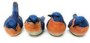 Transpac Set of 4 Blue Bird Figurines Resin Assorted 6 x 3 in Nature Birds