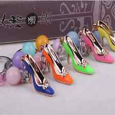 High Heel Shoes Key chain Rhinestone Car Key ring Silver Plated Women Bag Charm