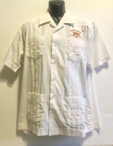 Corona Cigar Co. Men's Cuban Guayabera Shirt, White, Embroidered - L, 43/44, EUC
