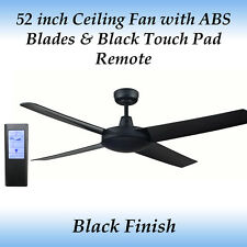 Genesis 52 inch Black Ceiling Fan with ABS Blades and Black Touch Pad Remote