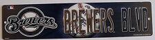 Plastic Street Sign Milwaulkee Brewers MLB Licensed Baseball League Dorm Decor