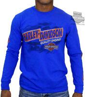 Harley-Davidson Mens Open Road Wanderer Trademark B&S Blue Long Sleeve T-Shirt