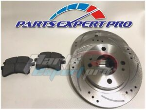 99-02 MITSUBISHI MIRAGE FRONT DRILLED SLOTTED BRAKE ROTORS AND PADS LS MODEL 1.8