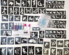 GLITTER TATTOO KIT Mystical 156 Stencils Fairies Mermaids Unicorns Glitter Glue