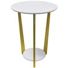 Retro Wood Round Side Table with Shelf - Natural / White ST1704033